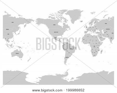 Grey World map. High detail America centered political map. Vector illustration.