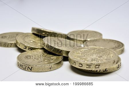 Stock image - close up study of old £1 coins - obsolete after 15 Oct 2017