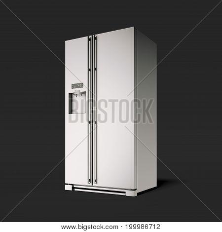 Silver modern refrigerator in the black studio. 3d rendering