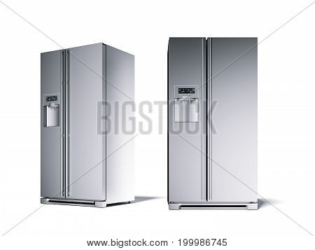 Two silver modern refrigerator in the white studio. 3d rendering
