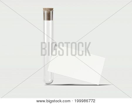 Clean empty beaker with white business cards. 3d rendering