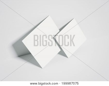 Two white blank canvases in bright interior. 3d rendering