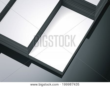 Steps of white blank business cards on glossy floor. 3d rendering