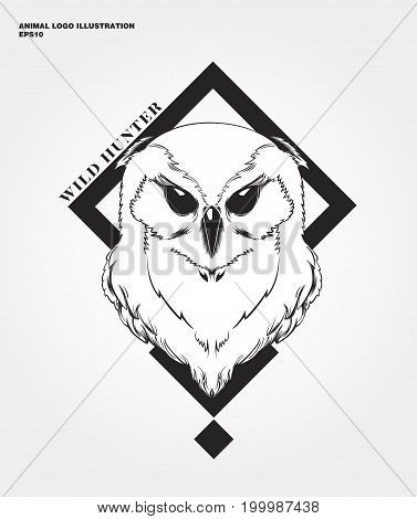 abstract animal logo. Hipster wild animal print for for T-shirts and other apparel. Icon Difference - Owl