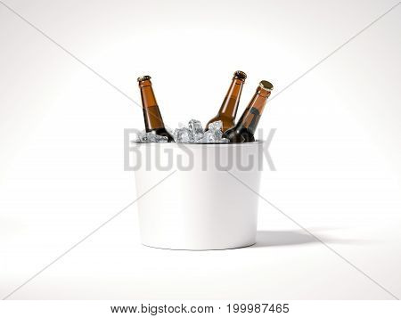 Blank ice bucket with brown beer bottles. 3d rendering