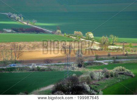 Spring landscape in northeastern Bulgaria, near Razgrad