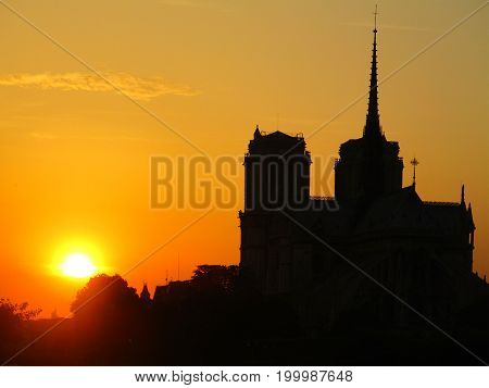 Sunset over Notre Dame in Paris, France
