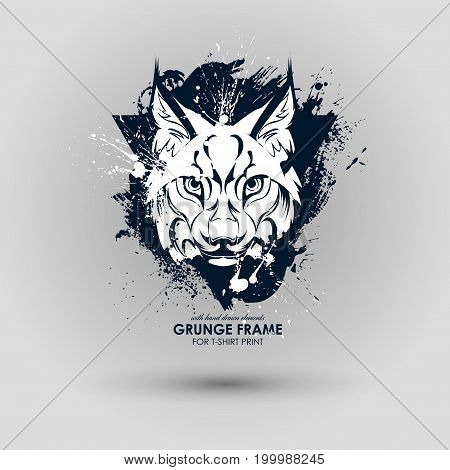 Abstract grunge animal print for t-shirt. Lynx modern street style attributes. Vector art. Wild cat head for poster. HIPSTER print for t-shirt.