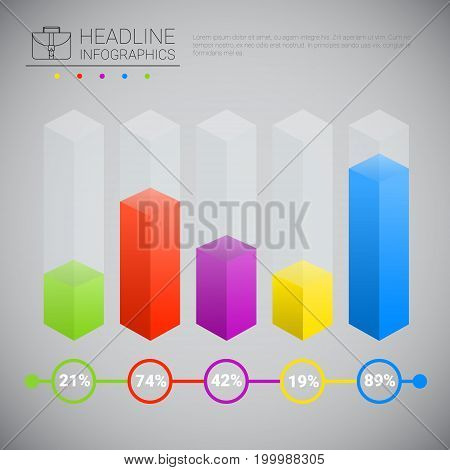 Headline Infographic Chart Bars Design Business Data Graphic Collection Presentation Copy Space Vector Illustration