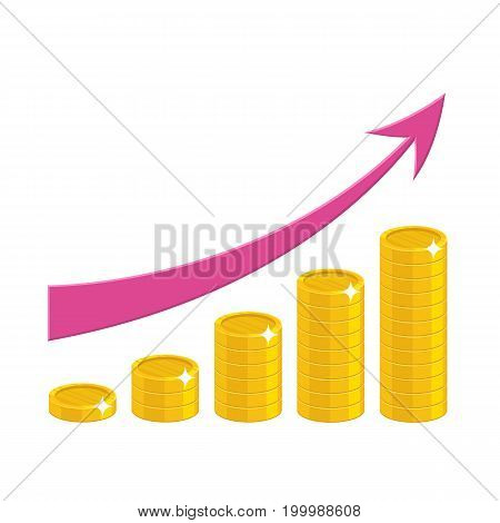 Profit growth cartoon style isolated. The increase of profit in gold coins for designers and illustrators. Gold pieces income growth in the form of a vector illustration