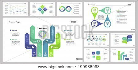 Infographic design set can be used for workflow layout, diagram, annual report, presentation, web design. Business and management concept with process, line and percentage charts.