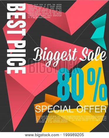 Super Sale shining banner on colorful background. Sale background. Big sale. Sale tag. Sale poster. Geometric design.