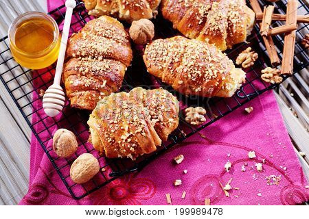 croissant with walnuts and honey