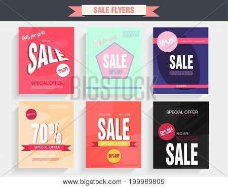 Set sale poster with percent discount. Geometric design. Special offer vector illustration.