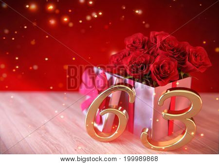 birthday concept with red roses in gift on wooden desk. 3D render - sixty-third birthday. 63rd