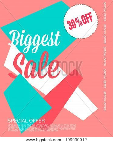 Sale poster with percent discount. Geometric design. Special offer vector illustration.