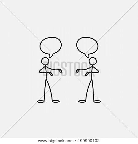 Cartoon icon of sketch stick figure men in cute miniature scenes.