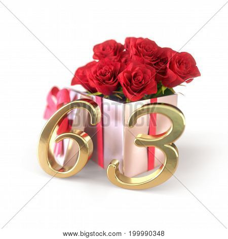 birthday concept with red roses in gift isolated on white background. 3D render - sixty-third. 63rd.