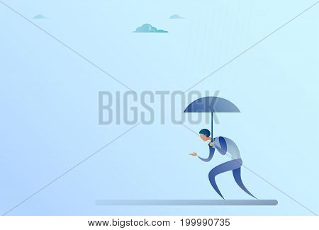 Business Man Hold Umbrella Stand Rain Protection Security Concept Flat Vector Illustration