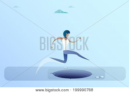 Businesswoman Jump Over Gap To Success Business Woman Risk Concept Flat Vector Illustration