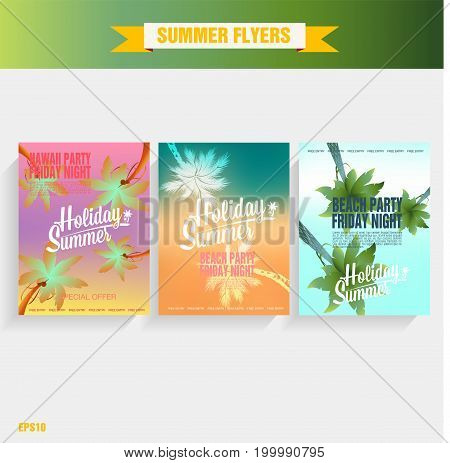 Set template beach party flyer. Vector Illustration poster beach party. Summer time background