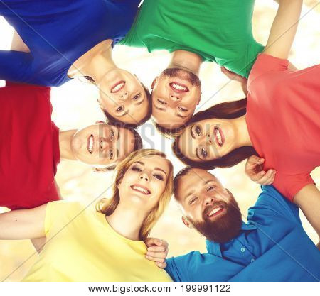 Group of smiling students staying together. School , education, college, university: concept.