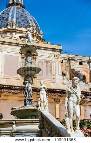 The Praetorian Fountain (Italian: Fontana Pretoria) is a monumental fountain of Palermo Sicily