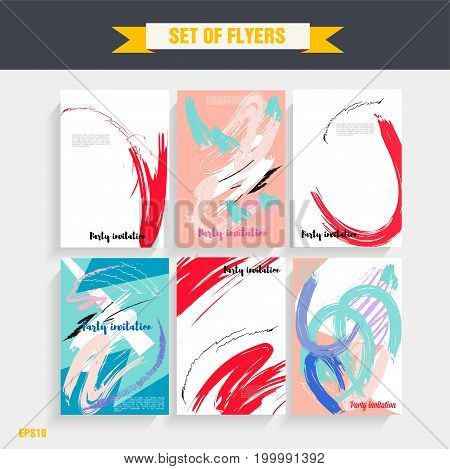 Set of creative universal cards for wedding, anniversary, birthday, Valentine's day party. Design for banner, poster, card, invitation, placard, brochure, flyer.