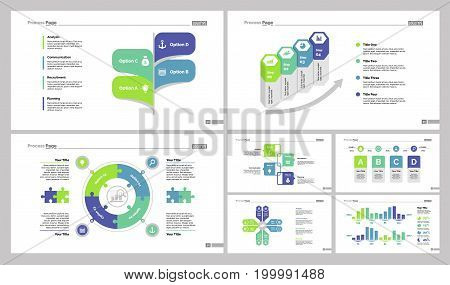 Infographic design set can be used for workflow layout, diagram, annual report, presentation, web design. Business and management concept with process and percentage charts.
