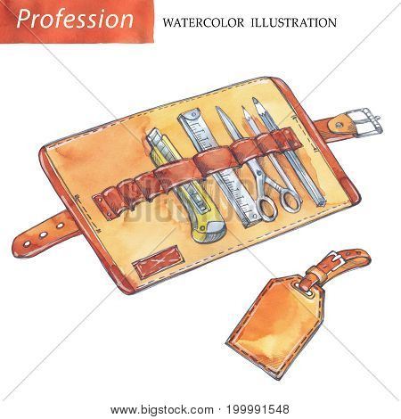 Hand painted leather case with tools. Profession, hobby, craft illustration. Watercolor. Profession instruments. Men's work
