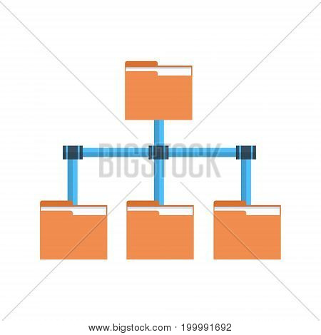 Folder Data Access Icon Cloud Computer Connection Hosting Server Database Synchronize Technology Vector Illustration