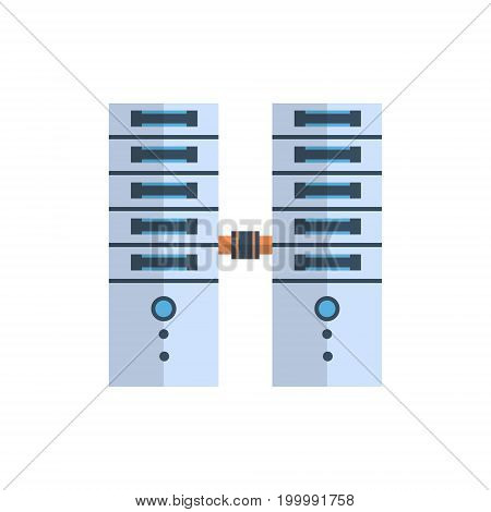 Data Center Icon Cloud Computer Connection Hosting Server Database Synchronize Technology Vector Illustration