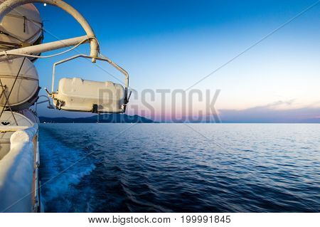 Piombino channel crossing with ferry boat in summer