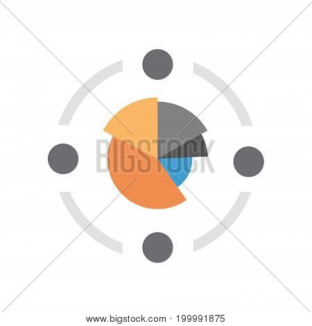 Pie Diagram Icon Colorful Financial Business Chart Flat Vector Illustration