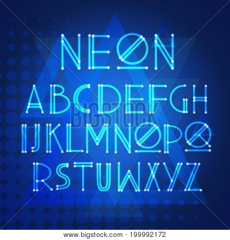 Alphabet Neon Letters Collection Text Lettering Set Vector Illustration