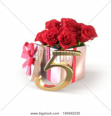 birthday concept with red roses in gift isolated on white background. 3D render - fifth birthday. 5th