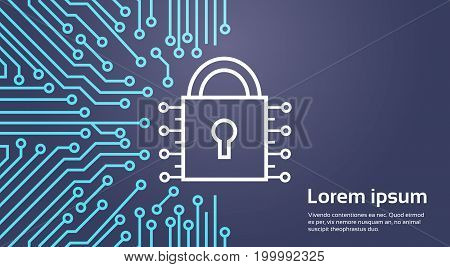 Lock Network Data Protection System Concept Banner Vector Illustration