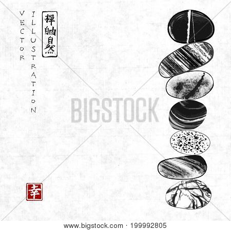 Pebble zen stones balance on rice paper background. Traditional Japanese ink painting sumi-e. Contains hieroglyphs - zen, freedom, nature.