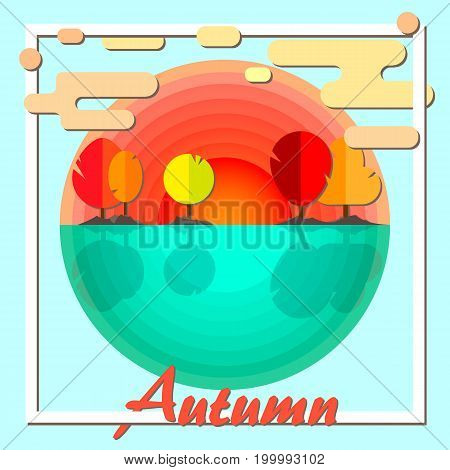 Autumn. Sunset and sea. Panoramic landscape. Vector illustration.