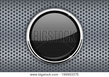 Black glass button on metal perforated background with chrome frame. Vector illustration