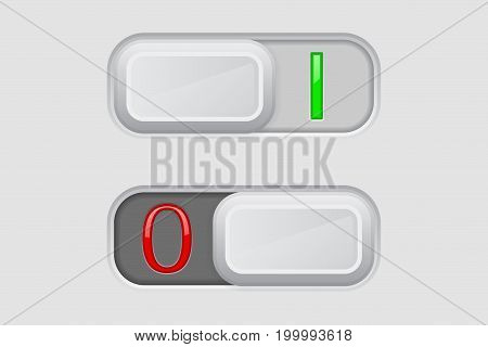 Toggle switch. On and Off buttons. Vector 3d illustration