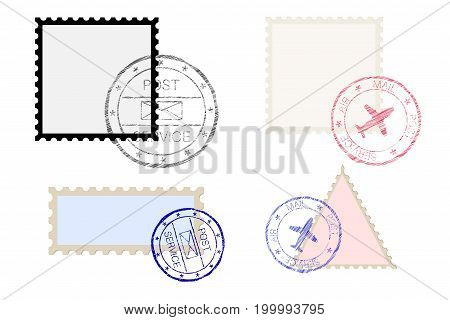 Postal stamps. Vector illustration isolated on white background
