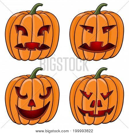 Halloween pumpkins. Carved face with emotions. Doodles. Vector illustration isolated on white background