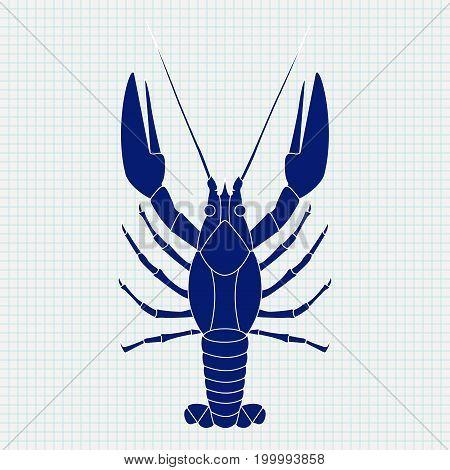 Lobster. Sketch. Blue vector illustration on notebook sheet background