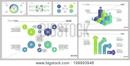 Infographic design set can be used for workflow layout, diagram, annual report, presentation, web design. Business and management concept with process, flow, bar and percentage charts.