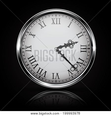 Round white clock with roman numerals. On black background. Vector 3d illustration