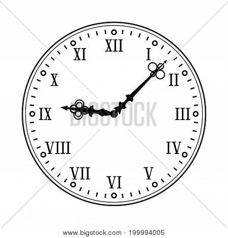 Clock face with roman numerals. Black flat drawing on white background. Vector illustration