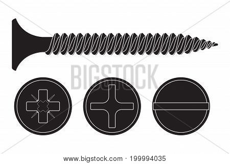 Wood screw. Black fastener with various drives - phillips, frearson and slotted. Vector illustration isolated on white background
