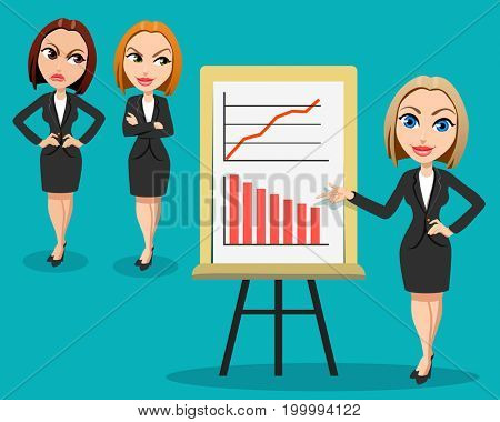 Business woman giving a presentation.Two women listen to the presentation with envy and anger. Different emotions. Office workers. Business Conference concept. Flat design.  The raster version.