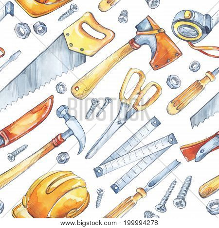 Men's work illustration. Seamless pattern with carpentry tools. Watercolor axe, saw, roulette, knife, hammer, helmet, screwdriver, scissor Profession hobby illustration For male design